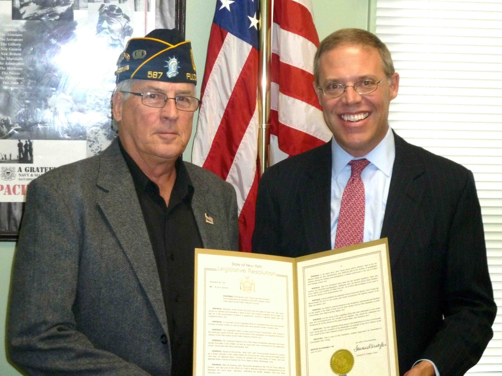 Assemblyman Will Barclay (R,C,I—Pulaski) recently presented veteran John Young with a State Assembly Resolution.  Young was named Veteran of the Year by the Fulton Veterans Council.  The award recognizes those who have served honorably in the military and who have contributed to the betterment of their community after being discharged.  Barclay's resolution honors Young and makes his contributions part of official state record.