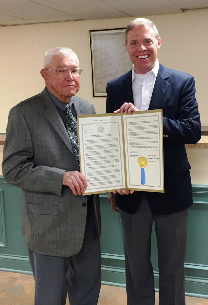 "Assemblyman Will Barclay (R,C,I--Pulaski) recently presented WWII Veteran Laurence ""Sparky"" Rector with an Assembly Resolution on May 14."
