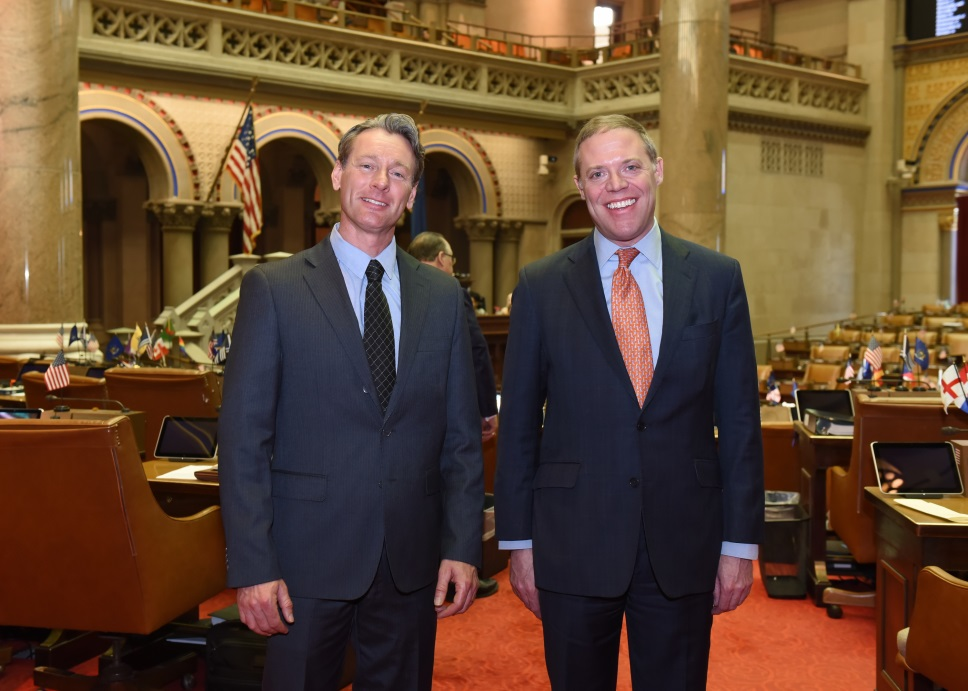 Assemblyman Will Barclay (R,C,I-- Pulaski) greeted Mayor Kenneth Sherman at the Capitol recently in Albany.  Mayor Sherman represents the Village of Central Square.  He visited Albany to tour the Capitol and watch the Assembly in session.<br />