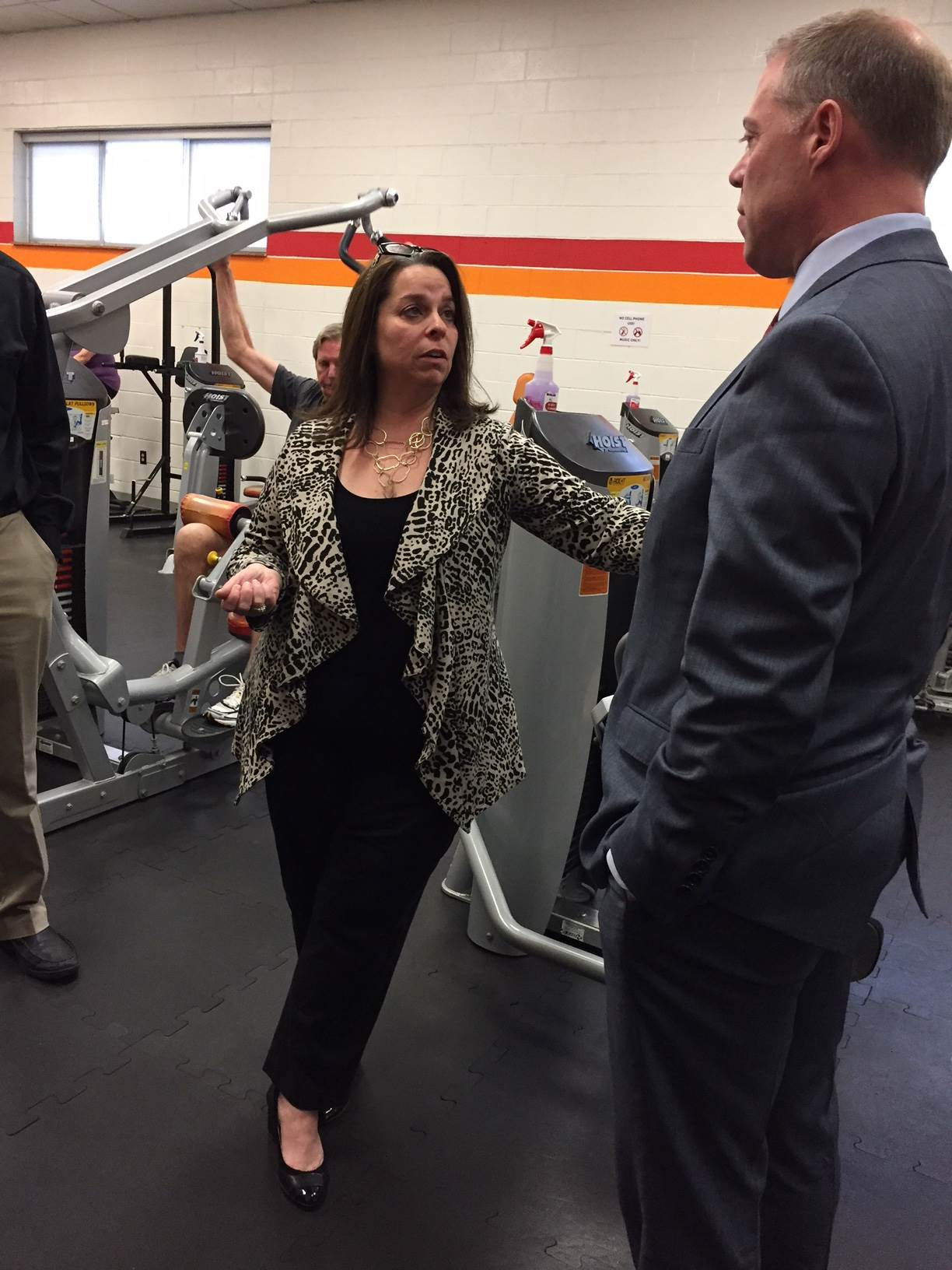 Assemblyman Will Barclay (R,C,I,Ref-Pulaski) recently visited the Fulton YMCA's facilities.  Lisa Pachmayer, executive director of the North Area Family YMCA and the Northwest Family YMCA, explai