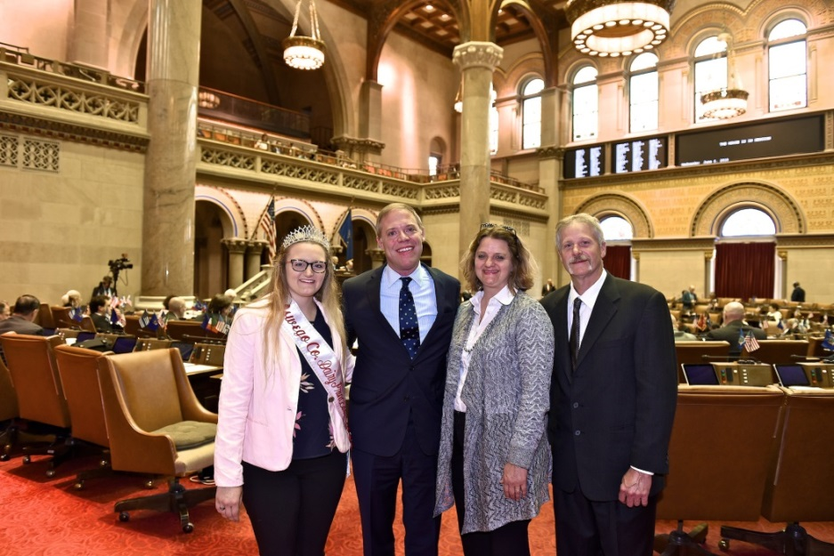 Assemblyman Will Barclay (R,C,I,Ref-Pulaski) recently introduced this year's Oswego County Dairy Princess, Ericka Vrooman, to the Assembly