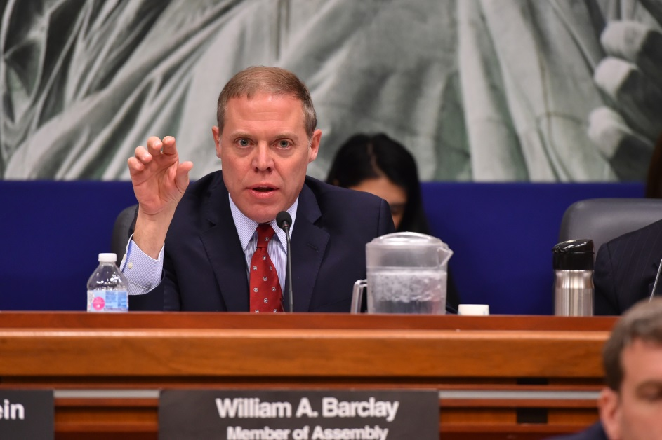 Assemblyman Will Barclay (R,C,I,Ref-Pulaski) speaks at Health/Medicaid Hearing on 2/5/19