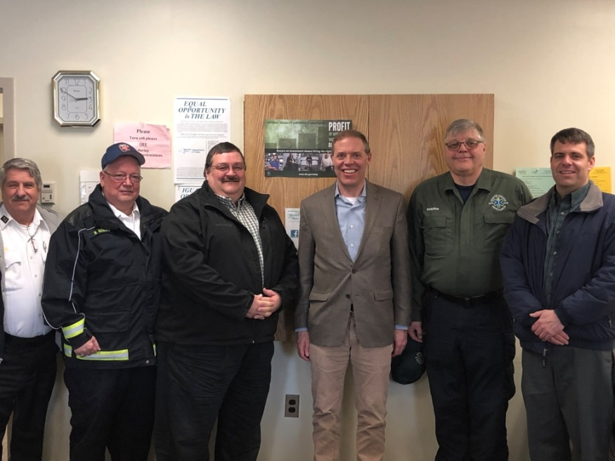 In photo, from left are Dave Butler of TLC Ambulance, Norm Wallis of Northern Oswego County Ambulance, Dave Sherman of Seaway Valley Ambulance, Lyle Robbins of North Shore Ambulance and Zach Menter of