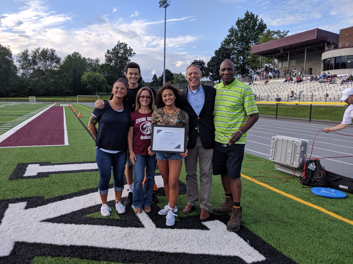 Assemblyman Will Barclay (R,C,I,Ref—Pulaski) recently presented Central Square's Jordan Ravenel-Shuler with a Spetrum News Scholar-Athlete Scholarship Award.  Also pictured is the Central Sq