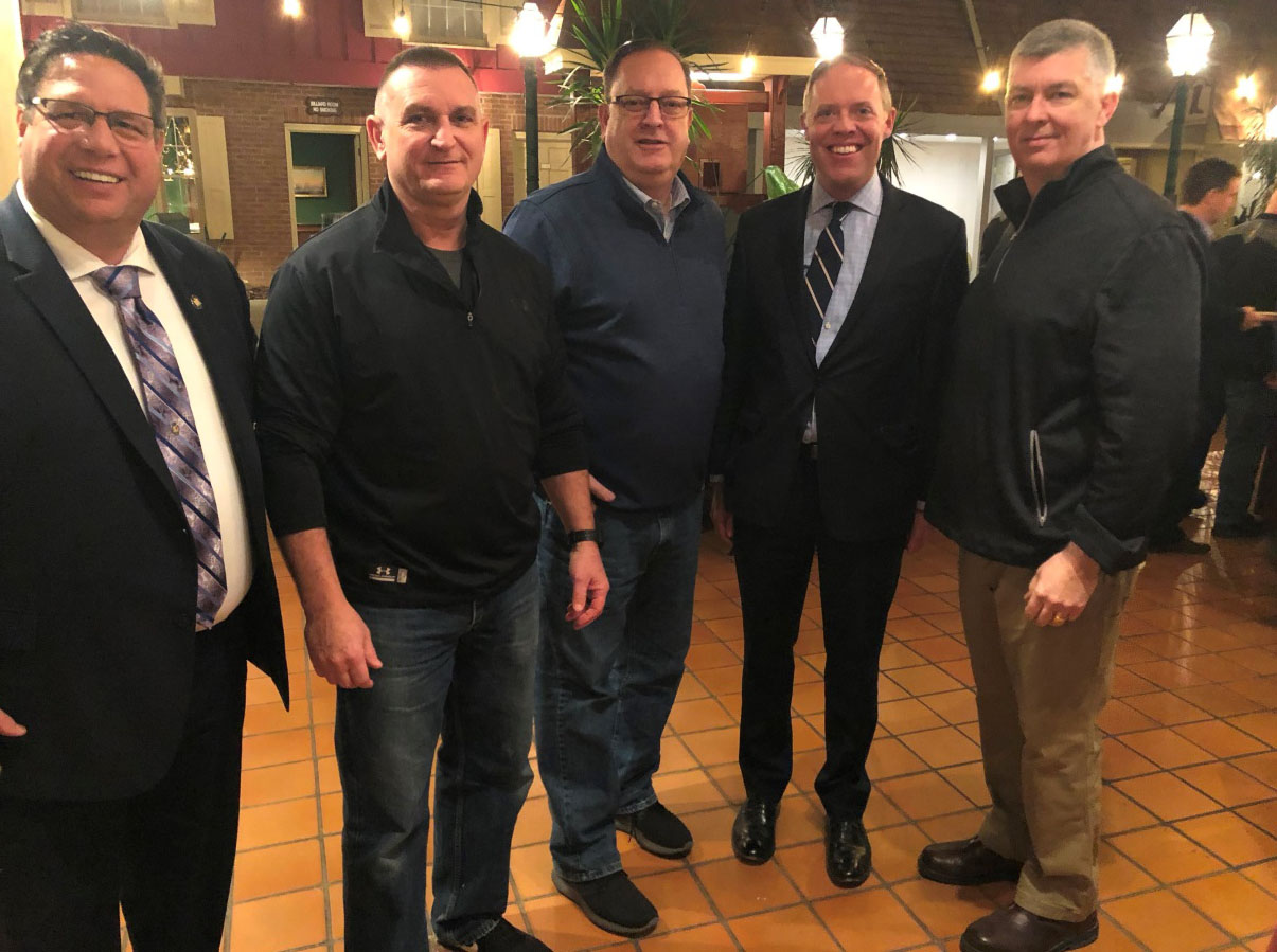 From left are Assemblyman Brian Manktelow (R,C,I,Ref–Lyons), Oswego County Sheriff Don Hilton, Oswego County Undersheriff John Toomey, Leader Barclay and Madison County Undersheriff R.J. Lenhart.
