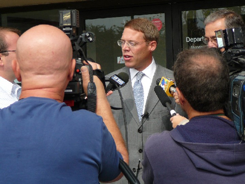 Assemblyman Will Barclay (R,C,I--Pulaski) kept illegal aliens from being issued a New York State driver license, even without a social security number. Barclay is pictured in front of a local Department of Motor Vehicles office explaining to local media outlets that this change would be a threat to security, would interfere with federal laws and also would invite illegal aliens to New York to live.