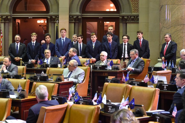 Assemblyman John Salka (R,C,Ref-Brookfield) introducing the Cooperstown boys basketball team in the Assembly Chamber on Wednesday, March 27.