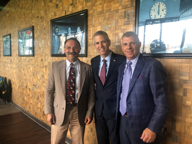 Assemblyman John Salka (R,C,Ref-Brookfield), alongside Rep. Anthony Brindisi (NY-22) and Oneida County Executive Anthony J. Picente Jr., at the Stop the HIT Coalition Round table on Wednesday, August
