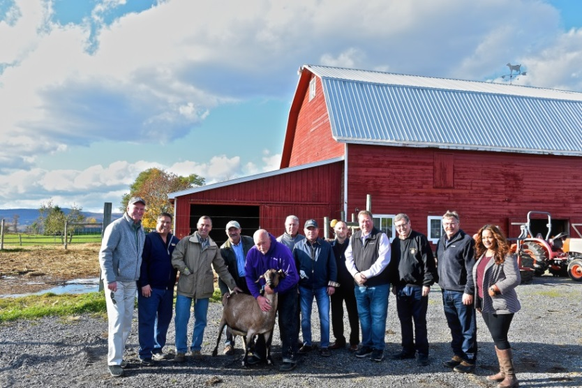 Assemblyman John Salka (R,C,Ref-Brookfield) alongside members of the Assembly and Senate at Beekman Boys Farm in Schoharie County on Wednesday, October 23.