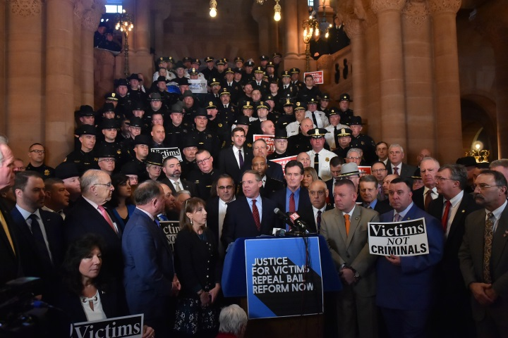 Assemblyman John Salka (R,C,Ref-Brookfield) at a rally to repeal Bail Reform on Tuesday, February 4 in Albany.