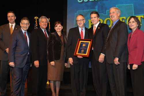 December 8, 2011 – Assemblywoman Donna Lupardo on stage for the Southern Tier's $50M award at Regional Economic Development Council Awards Ceremony