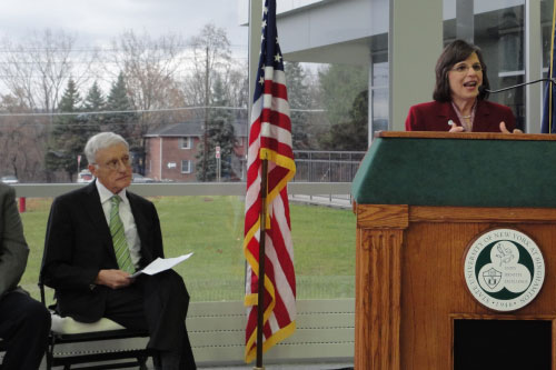 November 15, 2011 – Assemblywoman Donna Lupardo speaks at the Grand Opening for the new Science & Engineering Building at Binghamton University, which she helped secure funding for.