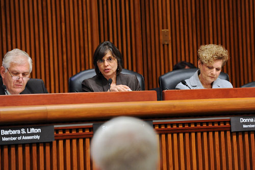 October 6, 2011 – Assemblywoman Lupardo questions DEC Commissioner Martens regarding drilling restrictions in floodplains at an Assembly hearing.