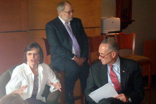 September 12, 2011 – Assemblywoman Donna Lupardo and other officials provide a briefing on the flood to Senator Chuck Schumer.