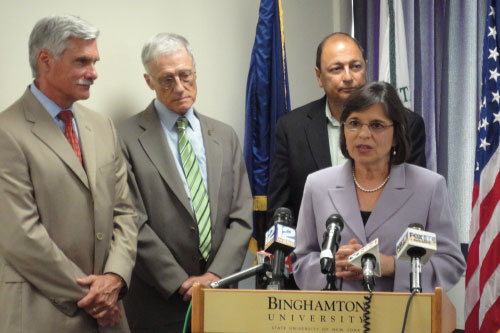 July 25, 2011 – Assemblywoman Lupardo at a press conference to announce a new partnership between Binghamton University and SUNY Upstate Medical University.