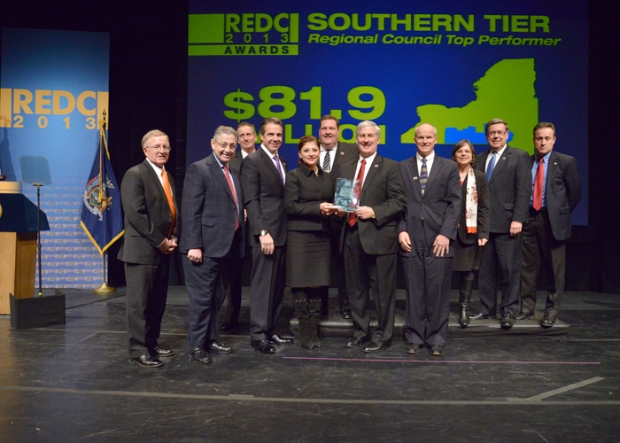 December 11, 2013 – Assemblywoman Donna Lupardo on stage as the Southern Tier accepts its $81.9 million top-performer award at the Regional Economic Development Council Awards ceremony.