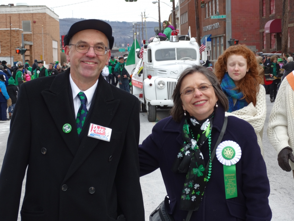 March 1, 2014<br>Hon. Peter Charnetsky, Broome County Family Court Judge, and Assemblywoman Donna Lupardo march down Court Street during the Binghamton St. Patrick's Day Parade.