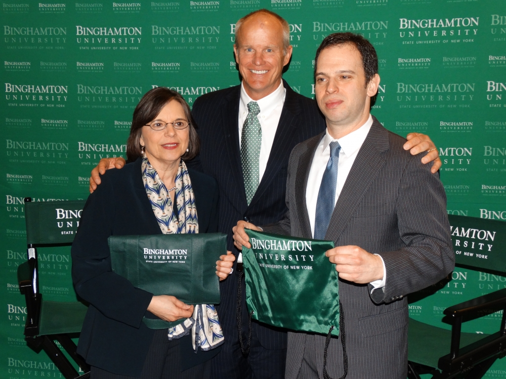 March 5, 2014<br>Binghamton University alumni Assemblywoman Donna Lupardo and Assemblyman Dan Quart meet with BU President Dr. Harvey Stenger in Albany.