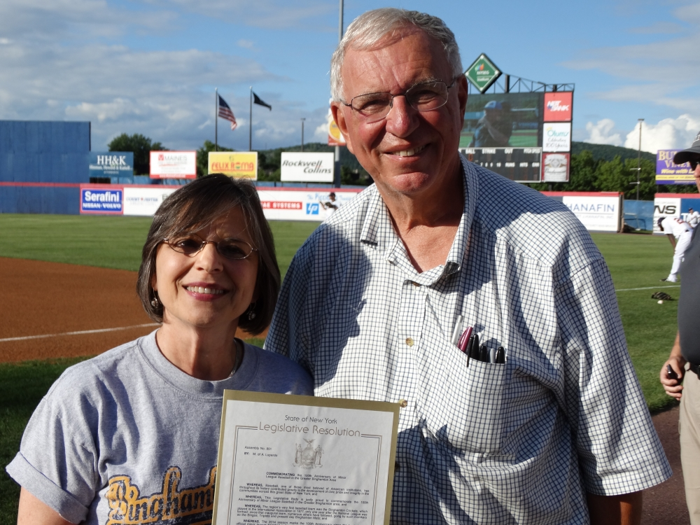 July 17, 2014: Assemblywoman Lupardo presents a resolution commemorating 100 years of minor league baseball in the Greater Binghamton area to the Binghamton Mets Baseball Booster Club.