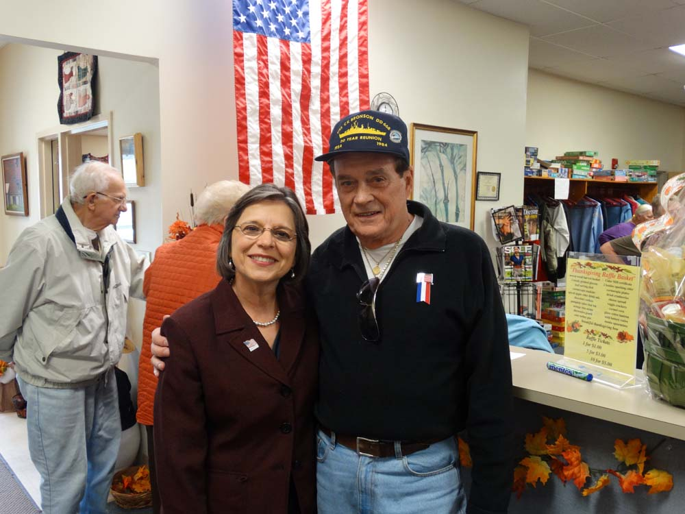 November 5, 2014 – Assemblywoman Donna Lupardo attends a Veterans Day Lunch at the Broome West Senior Center to honor men and women who served in our Armed Forces. Pictured with Assemblywoman Lupardo is Roger Faling, who served on the USS CK Bronson in Korea.