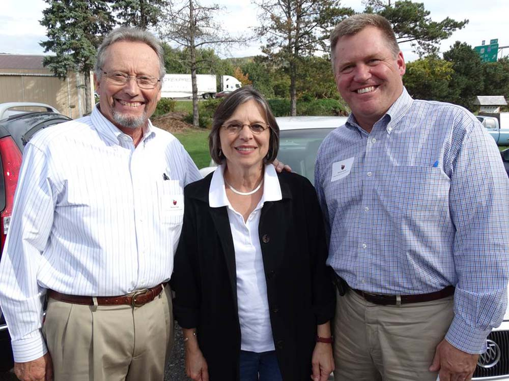 September 29, 2014 – Commissioner of Agriculture & Markets Richard Ball (left) and Deputy Secretary for Food & Agriculture Patrick Hooker (right) join Assemblywoman Lupardo for a tour of Broome County farms.