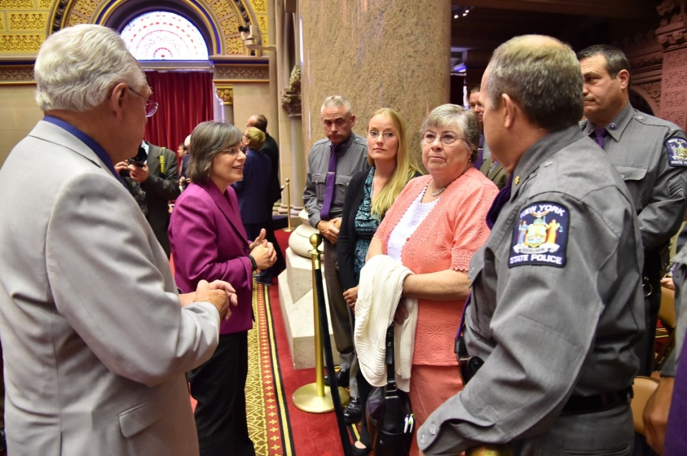 June 2, 2015 – Assemblywoman Lupardo and Assemblyman Clifford Crouch meet with fallen New York State Trooper Christopher Skinner's fiancée and mother, and other members of the New York State Police.