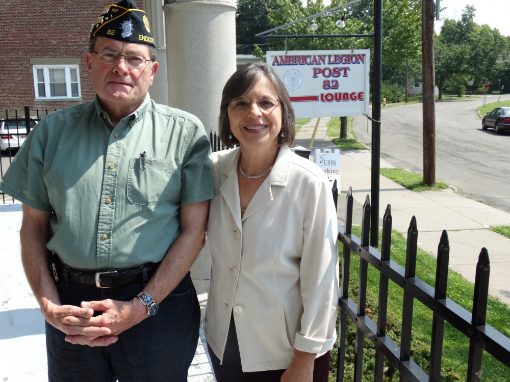 August 18, 2015 – Assemblywoman Lupardo and Ross Gleason of American Legion Post 82 in Endicott. An Assembly grant secured by Assemblywoman Lupardo funded a much-needed upgrade to the legion's plumbing system.