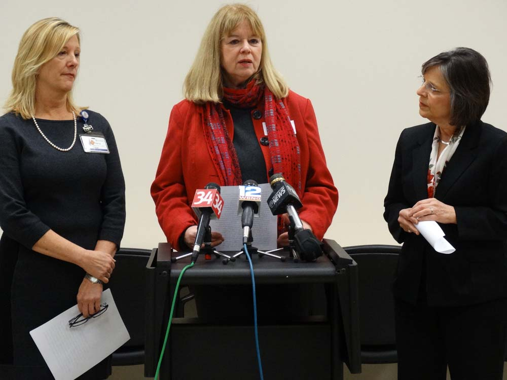December 21, 2015 – Michele Napolitano, Director of Fairview Recovery Services, speaks about the importance of community programs to combat opioid abuse at a news conference in which Assemblywoman Lupardo called for increased funding for prevention and early intervention programs.