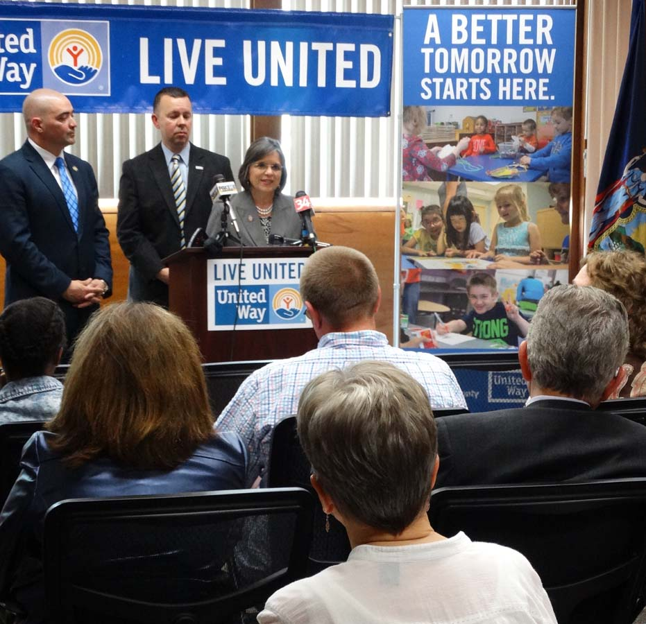 May 26, 2016 – Assemblywoman Lupardo, Senator Fred Akshar, and United Way of Broome County Executive Director Robin Alpaugh discuss new funding for the local Anti-Poverty Task Force.