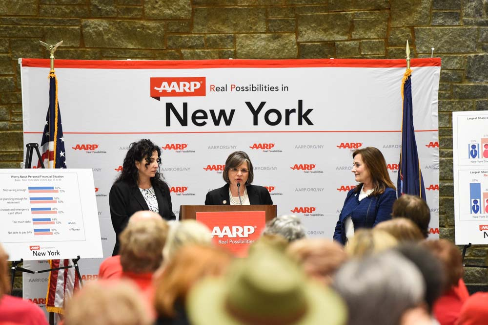 May 17, 2016 – Assemblywoman Lupardo joins Senator Diane Savino at an AARP rally detailing the retirement savings gap and the work the Legislature is doing to help prepare New Yorkers for retirement.