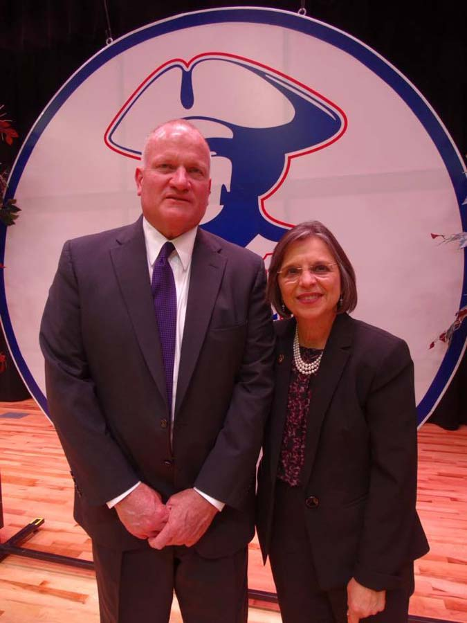 April 27, 2016 – Interim Superintendent of the Binghamton City School District Steve Deinhardt and Assemblywoman Lupardo at the grand opening of the new MacArthur Elementary School.