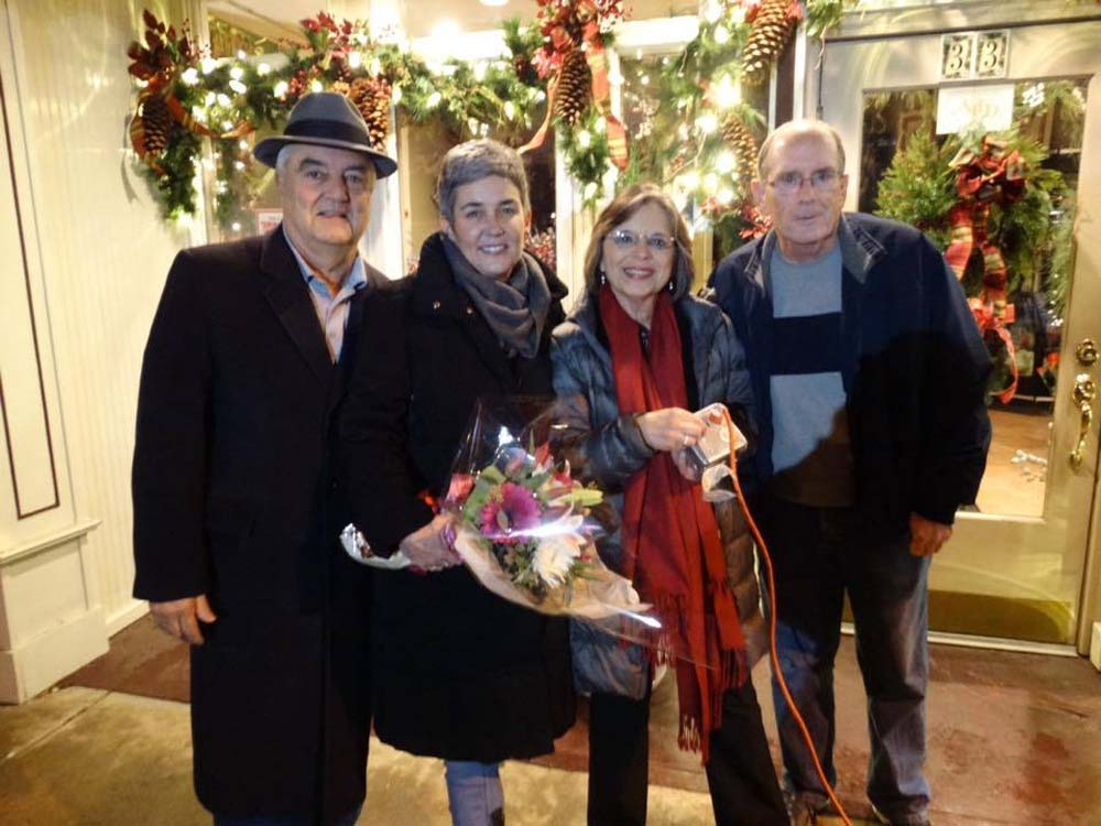 November 29, 2016 – Endicott Mayor John Bertoni and Village Trustees Eileen Konecny and Dave Baker join Assemblywoman Lupardo as Washington Avenue is lit for the holiday season. Lupardo secured a $15,000 Assembly grant to help pay for the new lights, a new sound system, and holiday banners for the Village of Endicott.<br />