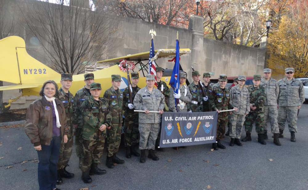 November 19, 2016 – Assemblywoman Lupardo, an honorary Major in the Civil Air Patrol's Legislative Squadron, with NY-292 after marching in the Boscov's Holiday Parade in Binghamton.<br />