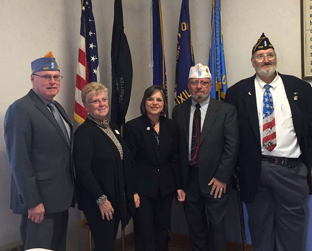 October 25, 2106 – Assemblywoman Lupardo with the Commanders of the New York State American Legion, American Legion Auxiliary, and Sons of the American Legion at Post 1700 in Endicott.<br />