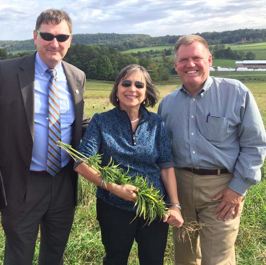 September 26, 2016 – SUNY Morrisville President Dr. David Rogers, Deputy Secretary to the Governor for Agriculture Pat Hooker, and Assemblywoman Lupardo at a tour of the state's first hemp farm at JD Farms in Eaton.<br />