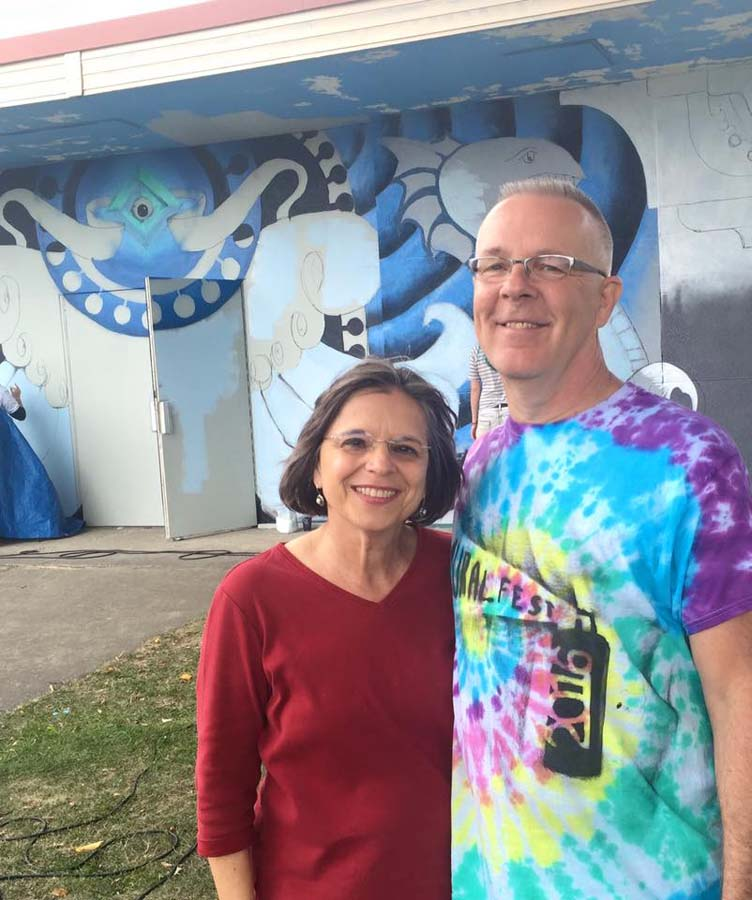 September 17, 2016 – Assemblywoman Lupardo with Mark Bowers at Mural Fest in Binghamton.<br />