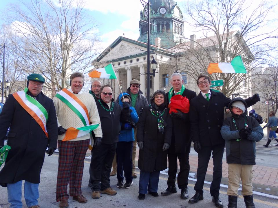 March 4, 2017 – Assemblywoman Lupardo and other local elected officials march in the Binghamton St. Patrick's Day Parade.<br />