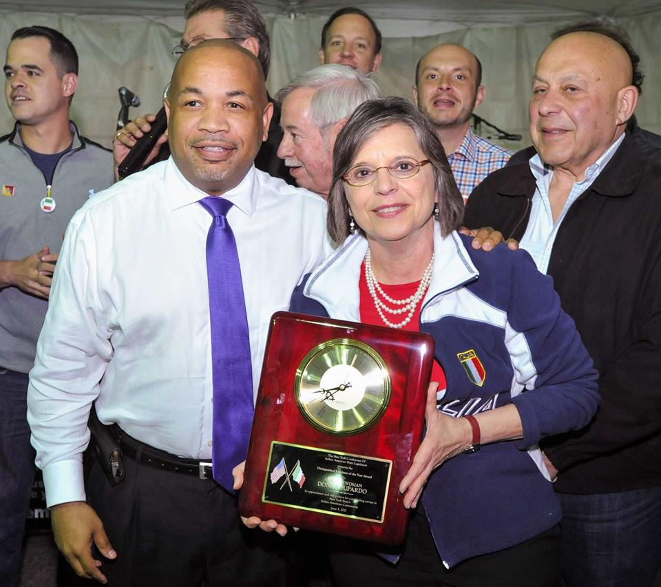 Assembly Speaker Carl Heastie presents Assemblywoman Lupardo with the 2017 Distinguished Legislator of the Year Award from the Conference of Italian-American State Legislators.
