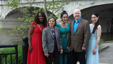 Assemblywoman Lupardo with actors and the director of Shakespeare on the River, part of this summer's Revel on the River.<br />