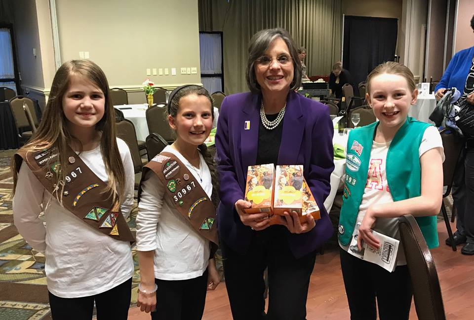 Local Girl Scouts with Assemblywoman Lupardo as she is honored as the Girl Scouts of NYPENN Pathways 2017 Woman of Distinction.<br />