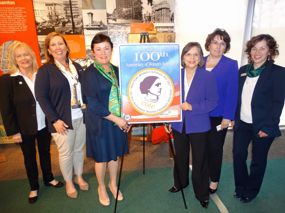 Assemblywoman Lupardo and Tioga Co. Legislative Chair Martha Sauerbrey, co-chairs of the Broome-Tioga Suffrage Anniversary Committee, join the Girl Scouts of NYPENN Pathways at Roberson Museum to unveil a patch honoring the 100th Anniversary of Women's Suffrage in NYS.<br />