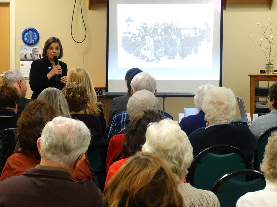 Assemblywoman Lupardo discusses the local women's suffrage movement at the Broome West Senior Center as part of a yearlong celebration of the 100th Anniversary of Women's Suffrage in NYS.<br />