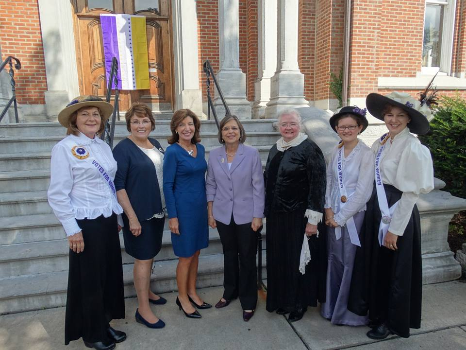 August 16, 2017 – Assemblywoman Lupardo and Tioga County Legislative Chair Martha Sauerbrey join Lieutenant Governor Kathy Hochul to announce details of local suffrage anniversary celebrations in Broome and Tioga Counties.<br />