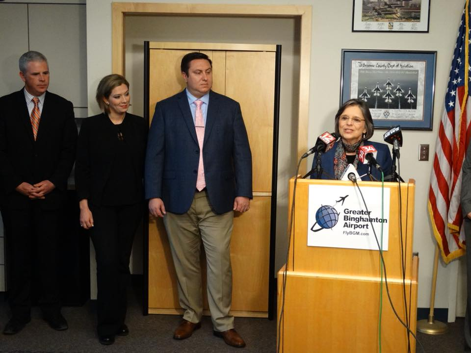 February 19, 2018 – Assemblywoman Lupardo speaks at a news conference to announce Evolution Jets moving its headquarters to the Greater Binghamton Airport, a result of the Aviation Jobs Act she sponso