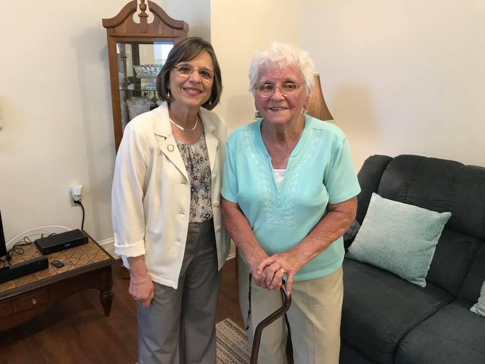 July 11, 2018 – Assemblywoman Lupardo poses for a photo with Florence Grivas, a resident at the newly opened EJ Apartment in Binghamton. The former Endicott-Johnson medical clinic has 20 senior housin