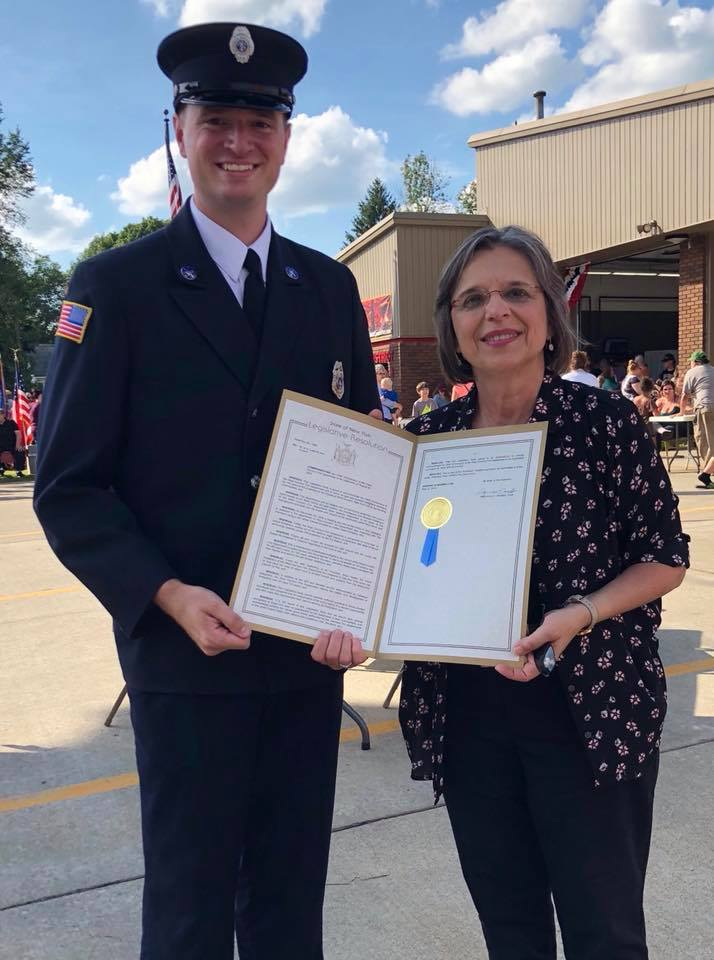August 25, 2018 – Assemblywoman Lupardo presents a NYS Assembly resolution honoring the 100th anniversary of the West Corners Fire Dept.