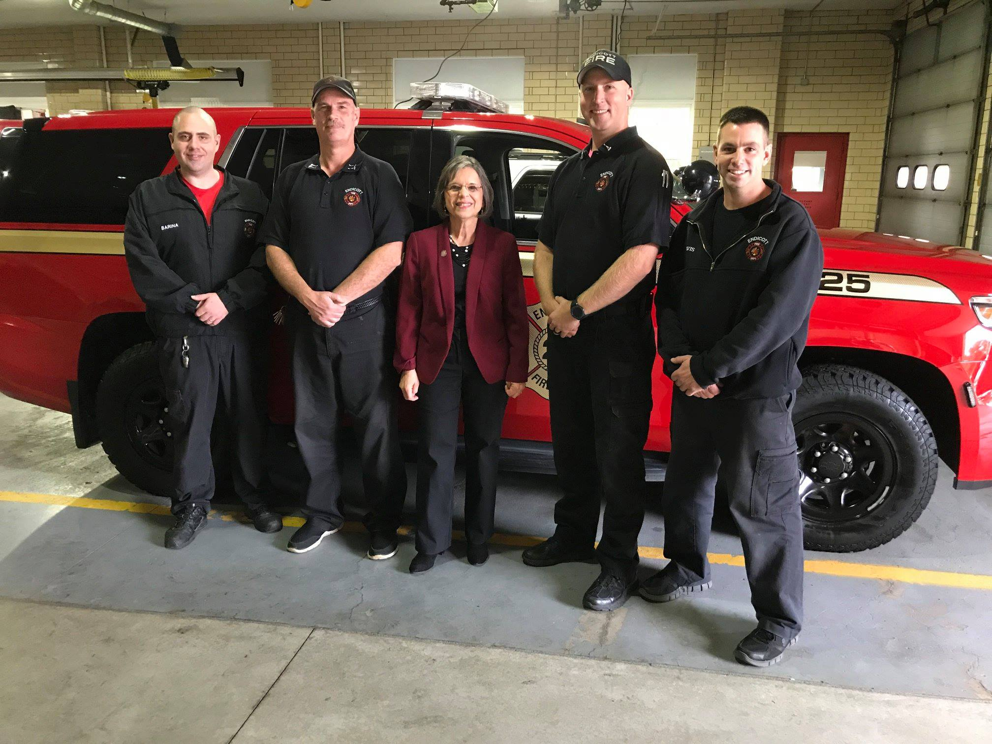 October 26, 2018 – Assemblywoman Lupardo with members of the Endicott Fire Department. Lupardo secured $40,000 for a new emergency response vehicle.