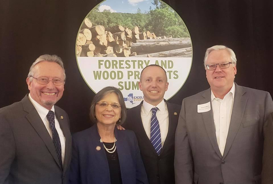 October 26, 2018 – Commissioner of Agriculture & Markets Richard Ball, Assemblywoman Lupardo, Commissioner of Environmental Conservation Basil Seggos, and Senator O'Mara at the Forestry