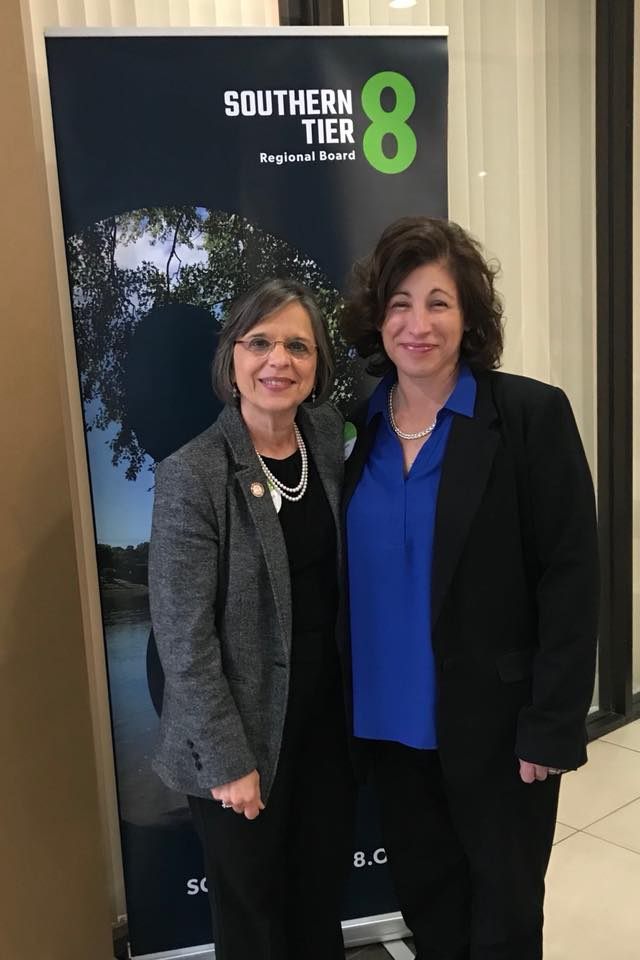 November 28, 2018 – Jennifer Gregory of Southern Tier 8 and Assemblywoman Lupardo at the development agency's Industry Summit.