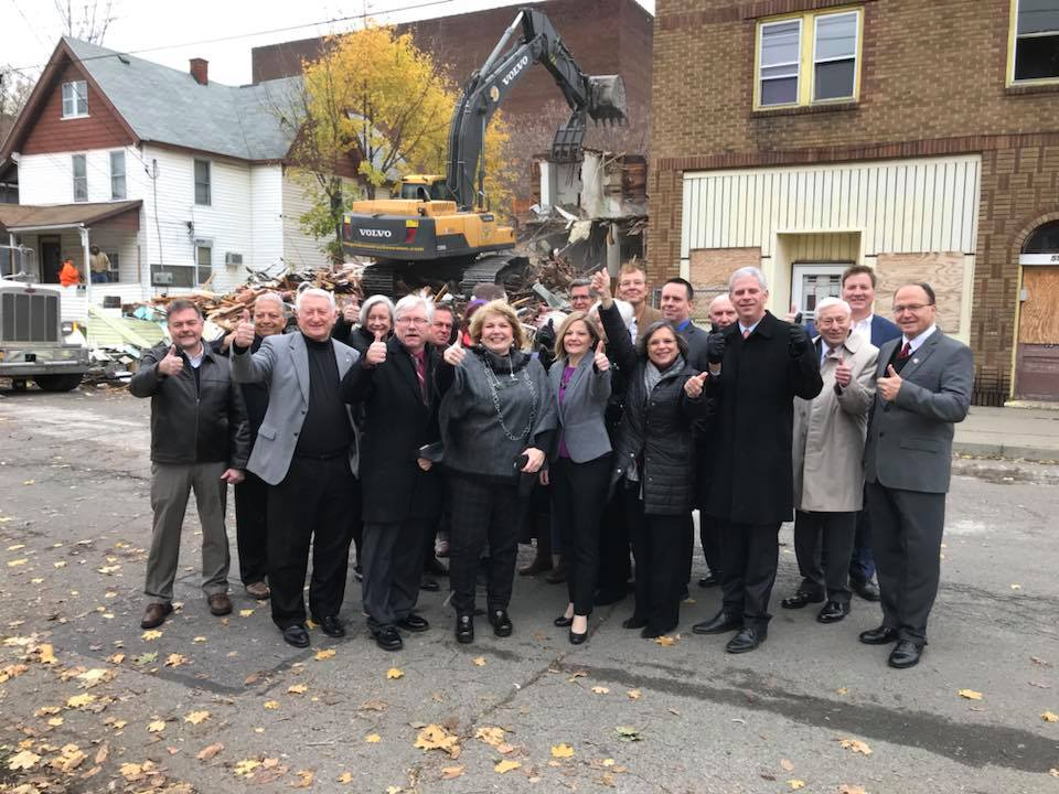 November 9, 2018 – Local officials, including Assemblywoman Lupardo, attend the demolition of two properties adjacent to the Goodwill Theatre in Johnson City. Lupardo secured grant funding for th